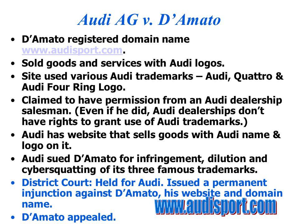 Audi AG v. D'Amato D'Amato registered domain name www.audisport.com.