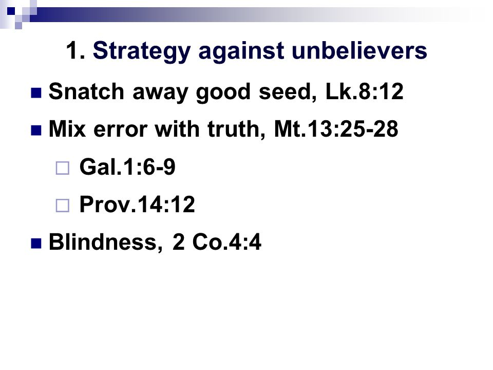 1. Strategy against unbelievers Snatch away good seed, Lk.8:12 Mix error with truth, Mt.13:25-28  Gal.1:6-9  Prov.14:12 Blindness, 2 Co.4:4