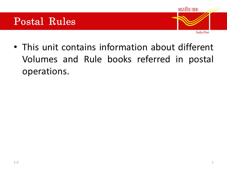 Postal Manual Volume-IV MTS servants of Post office and RMS MTS servants of Circle office MTS servants of Postal Dispensaries and General Rules relating to: - Revision of Establishments and Establishment of Post offices and RMS 121.4