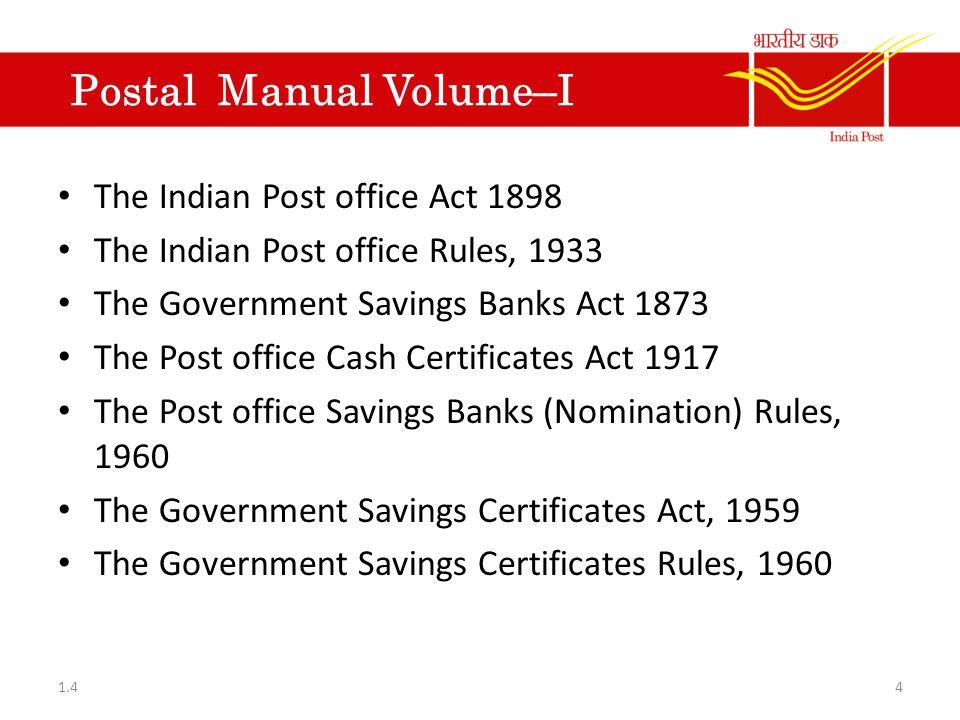 P O Savings Bank Volume I Savings accounts Recurring Deposit Accounts.