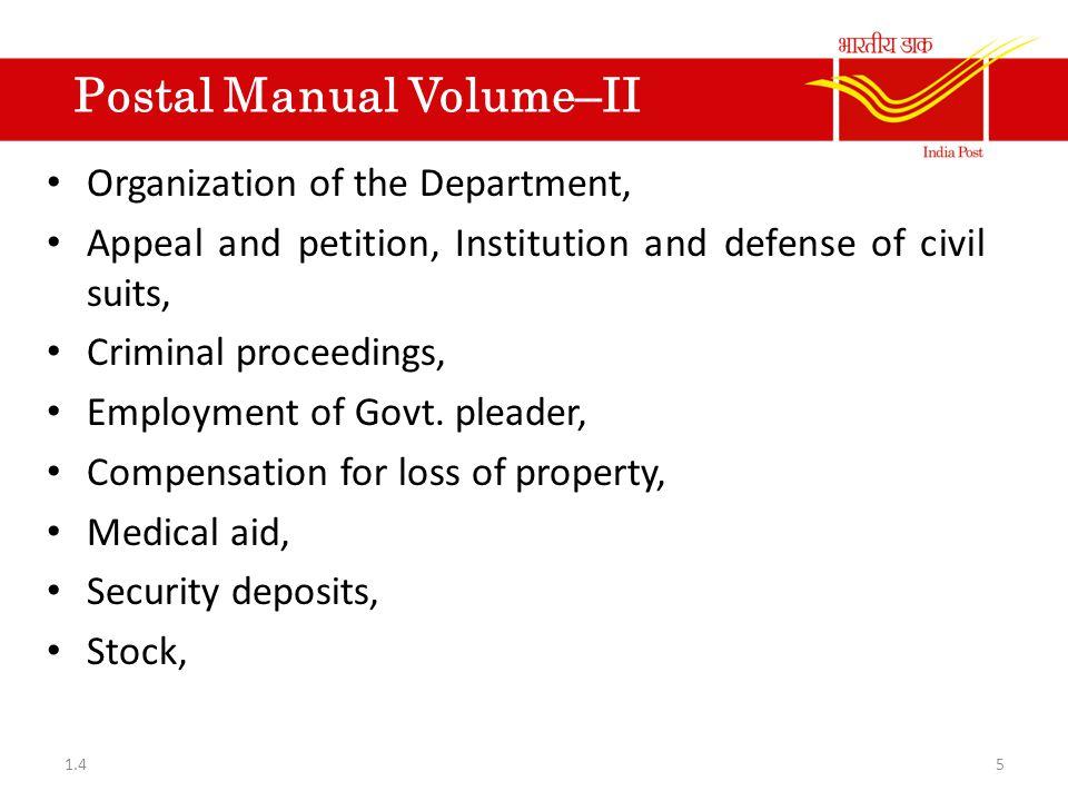 Postal Manual Of S.B.Control Pairing And Internal Check Organisation S.B.