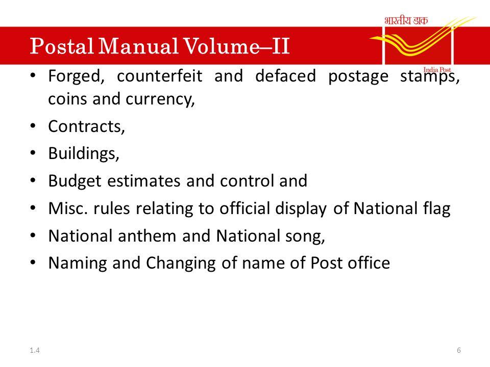 Postal Manual Of S.B.