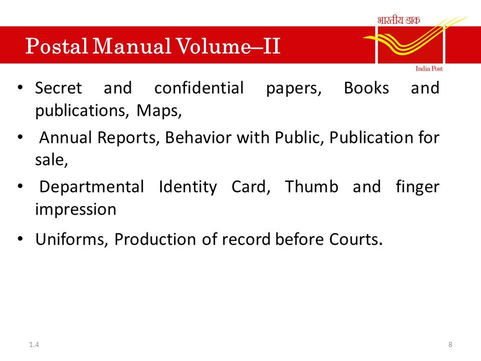 Postal Manual Vol-VI Part-III Sub-accounts.Accounts in Sub Post Offices.