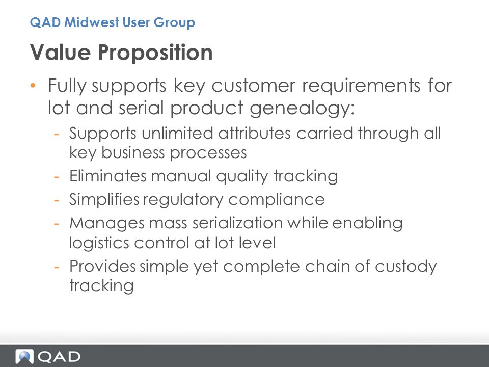 Building Block #4 – Serialized Inventory Warehouse / Distribution 15 QAD Midwest User Group