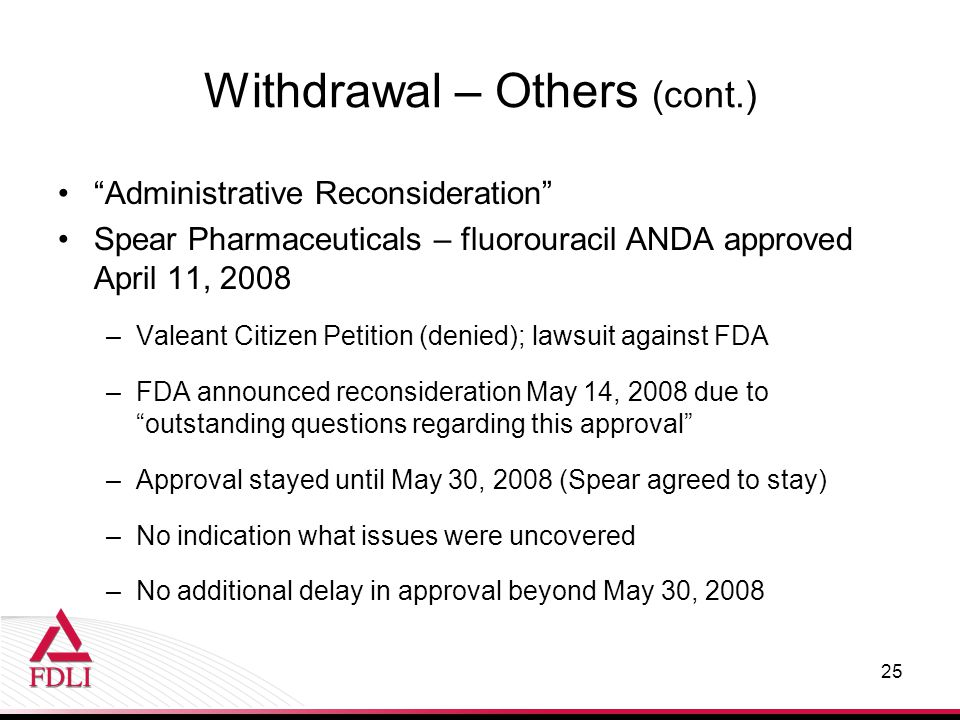 "Withdrawal – Others (cont.) ""Administrative Reconsideration"" Spear Pharmaceuticals – fluorouracil ANDA approved April 11, 2008 –Valeant Citizen Petiti"