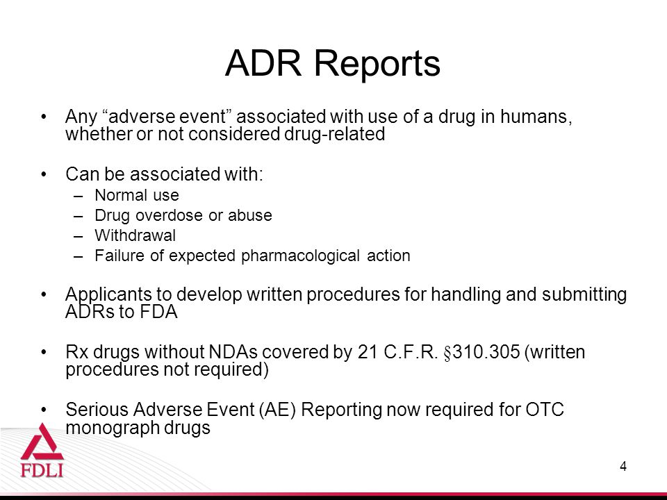 ADR Reports - Terms Serious means: –Death –Life-threatening adverse experience –Hospitalization (or prolonging hospitalization) –Persistent or significant disability/incapacity –Congenital anomaly/birth defect – Important medical event that may jeopardize a patient Unexpected means: –Not listed in current labeling –May be related to event listed in current labeling, but more severe or more specific 5