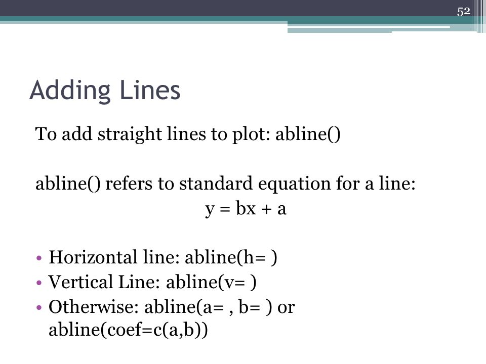 Adding Lines To add straight lines to plot: abline() abline() refers to standard equation for a line: y = bx + a Horizontal line: abline(h= ) Vertical