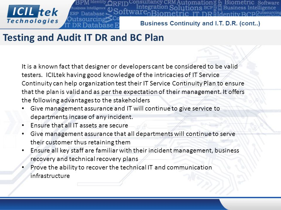 Testing and Audit IT DR and BC Plan Business Continuity and I.T.