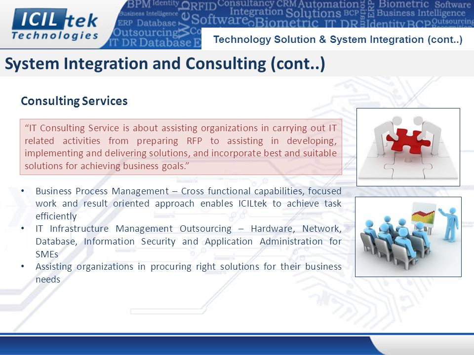 System Integration and Consulting (cont..) Technology Solution & System Integration (cont..) Consulting Services Business Process Management – Cross functional capabilities, focused work and result oriented approach enables ICILtek to achieve task efficiently IT Infrastructure Management Outsourcing – Hardware, Network, Database, Information Security and Application Administration for SMEs Assisting organizations in procuring right solutions for their business needs IT Consulting Service is about assisting organizations in carrying out IT related activities from preparing RFP to assisting in developing, implementing and delivering solutions, and incorporate best and suitable solutions for achieving business goals.