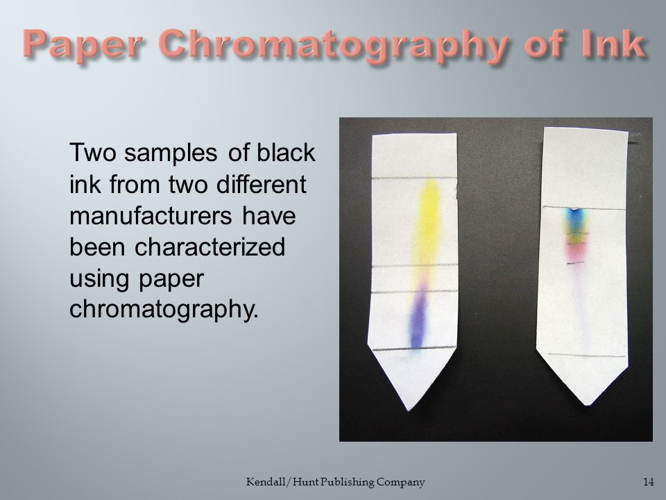 Kendall/Hunt Publishing Company14 Two samples of black ink from two different manufacturers have been characterized using paper chromatography.