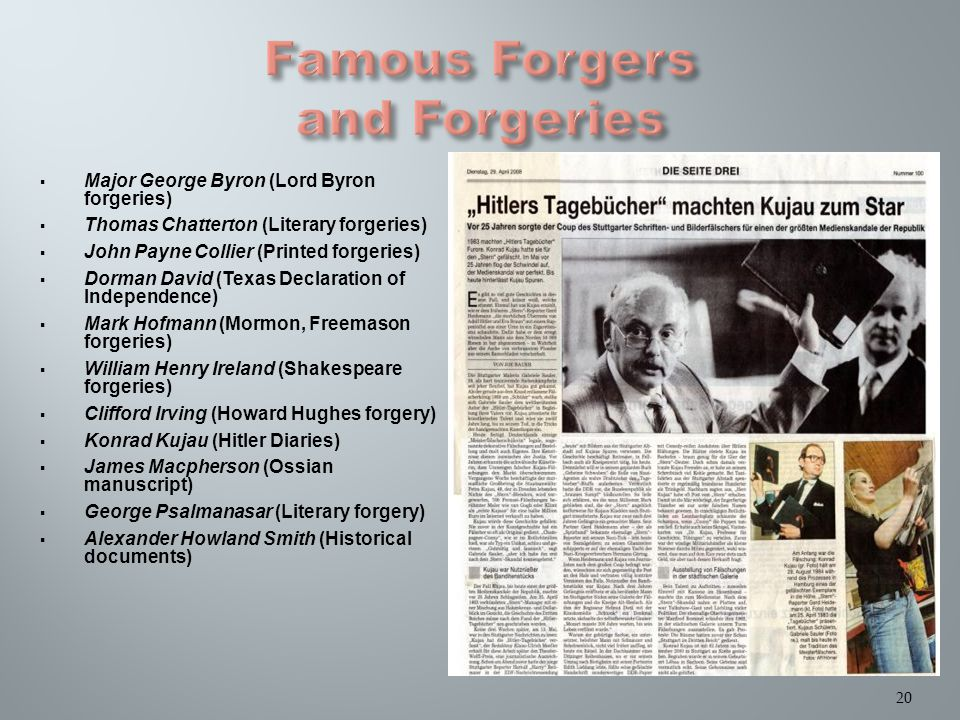  Major George Byron (Lord Byron forgeries)  Thomas Chatterton (Literary forgeries)  John Payne Collier (Printed forgeries)  Dorman David (Texas Declaration of Independence)  Mark Hofmann (Mormon, Freemason forgeries)  William Henry Ireland (Shakespeare forgeries)  Clifford Irving (Howard Hughes forgery)  Konrad Kujau (Hitler Diaries)  James Macpherson (Ossian manuscript)  George Psalmanasar (Literary forgery)  Alexander Howland Smith (Historical documents) 20