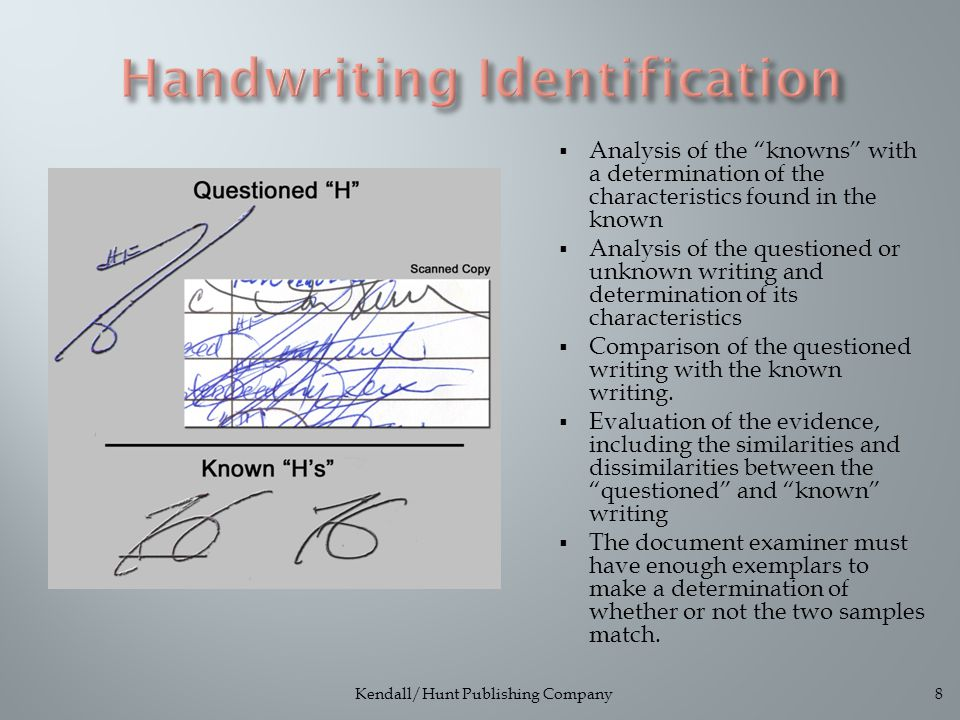  Analysis of the knowns with a determination of the characteristics found in the known  Analysis of the questioned or unknown writing and determination of its characteristics  Comparison of the questioned writing with the known writing.
