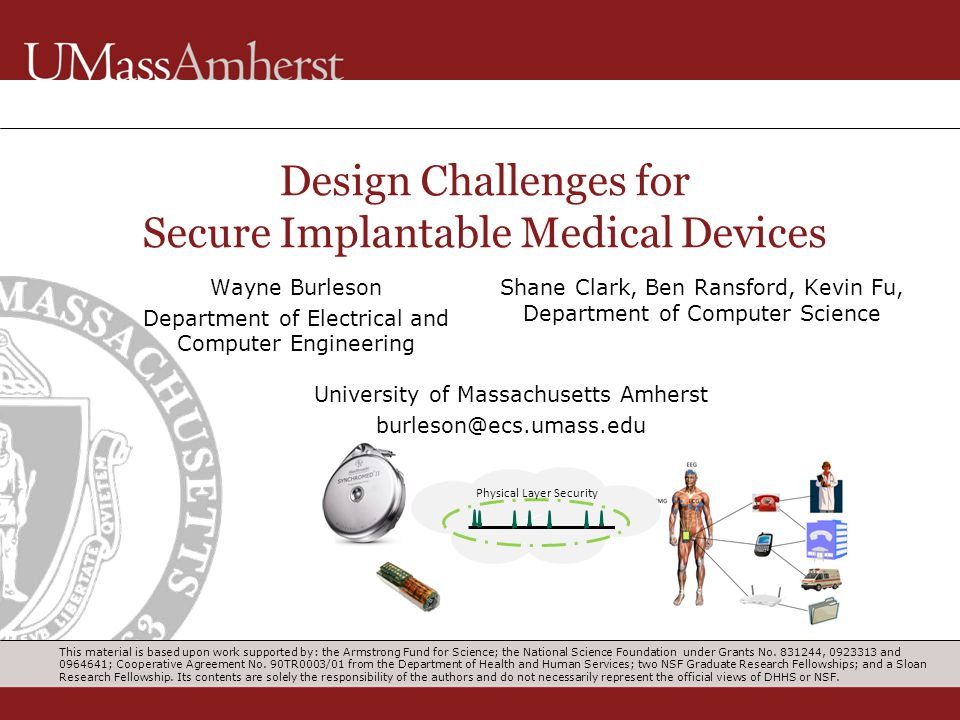 Design Challenges for Secure Implantable Medical Devices Wayne Burleson Department of Electrical and Computer Engineering Shane Clark, Ben Ransford, K