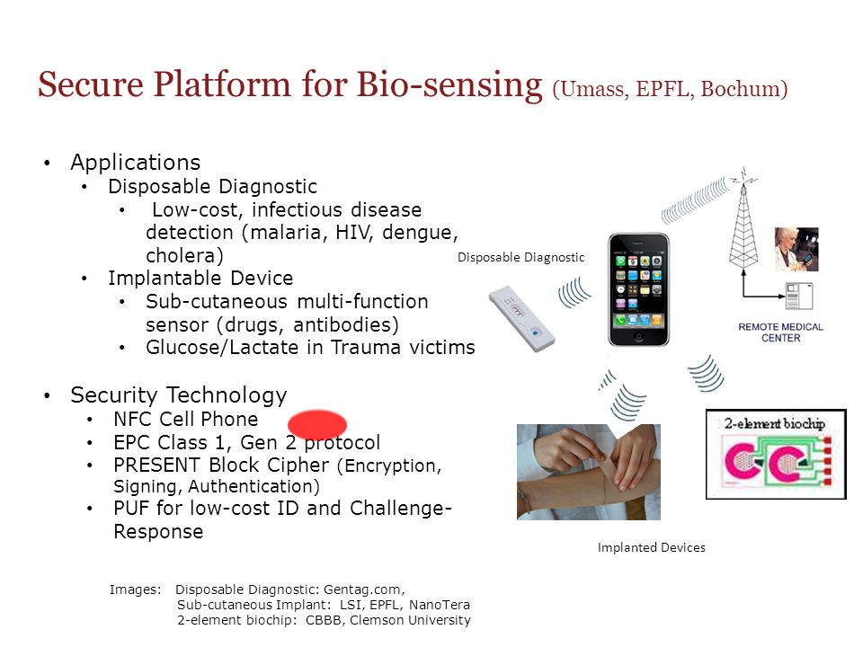 Secure Platform for Bio-sensing (Umass, EPFL, Bochum) Implanted Devices Disposable Diagnostic Applications Disposable Diagnostic Low-cost, infectious