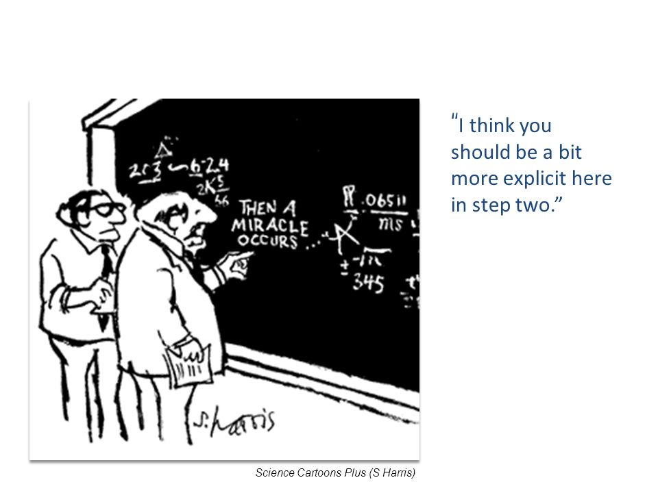 """ I think you should be a bit more explicit here in step two."" Science Cartoons Plus (S Harris)"