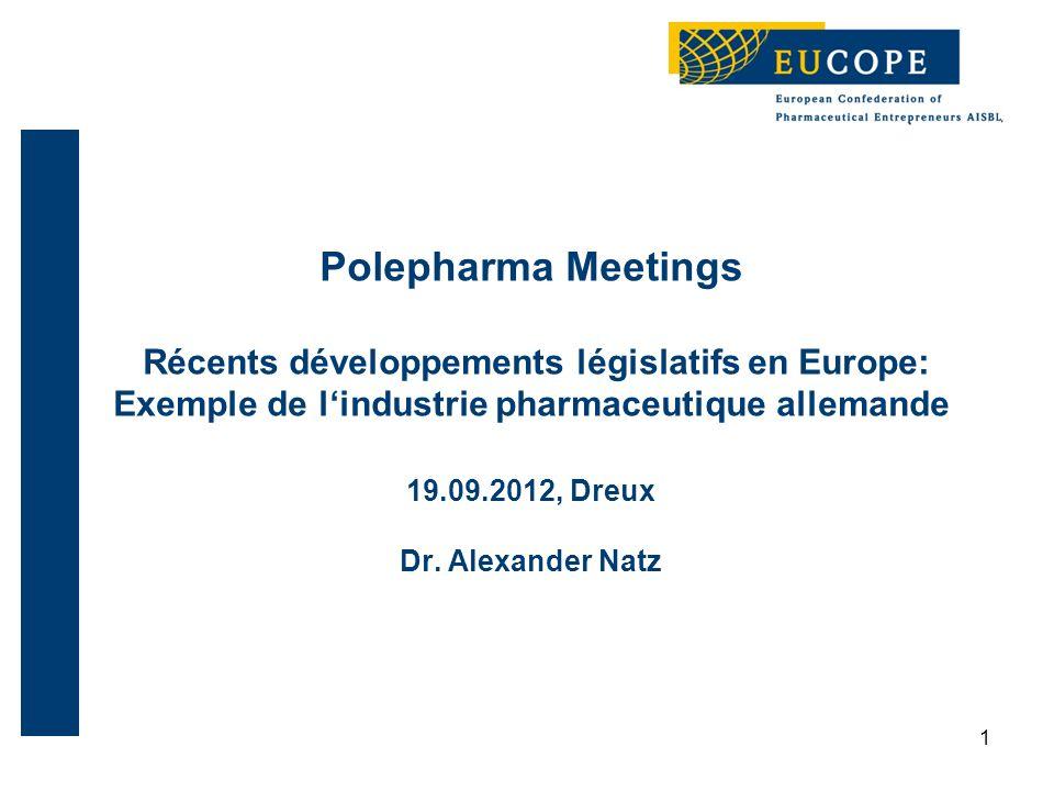 1 Polepharma Meetings Récents développements législatifs en Europe: Exemple de l'industrie pharmaceutique allemande 19.09.2012, Dreux Dr.