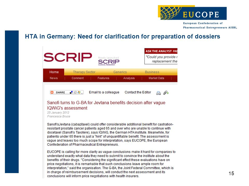 HTA in Germany: Need for clarification for preparation of dossiers 15