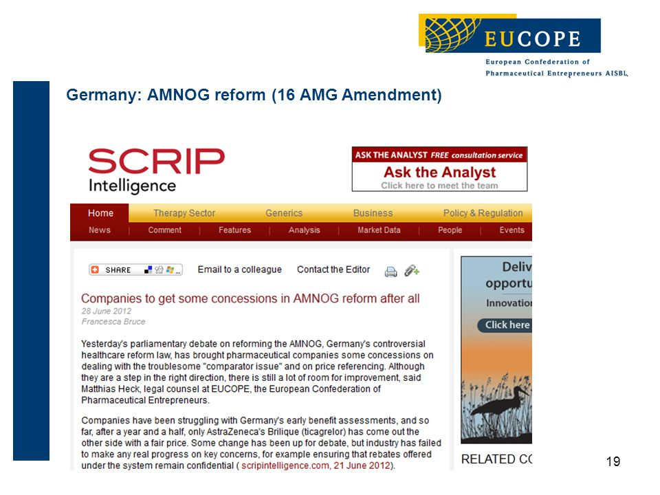 Germany: AMNOG reform (16 AMG Amendment) 19
