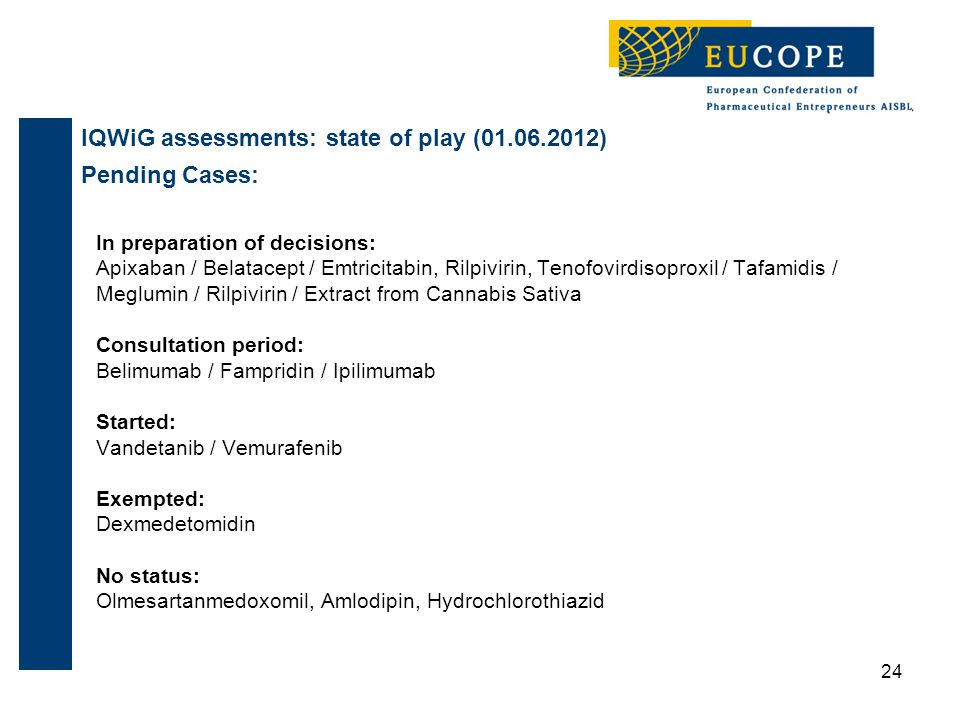 IQWiG assessments: state of play (01.06.2012) Pending Cases: In preparation of decisions: Apixaban / Belatacept / Emtricitabin, Rilpivirin, Tenofovirdisoproxil / Tafamidis / Meglumin / Rilpivirin / Extract from Cannabis Sativa Consultation period: Belimumab / Fampridin / Ipilimumab Started: Vandetanib / Vemurafenib Exempted: Dexmedetomidin No status: Olmesartanmedoxomil, Amlodipin, Hydrochlorothiazid 24
