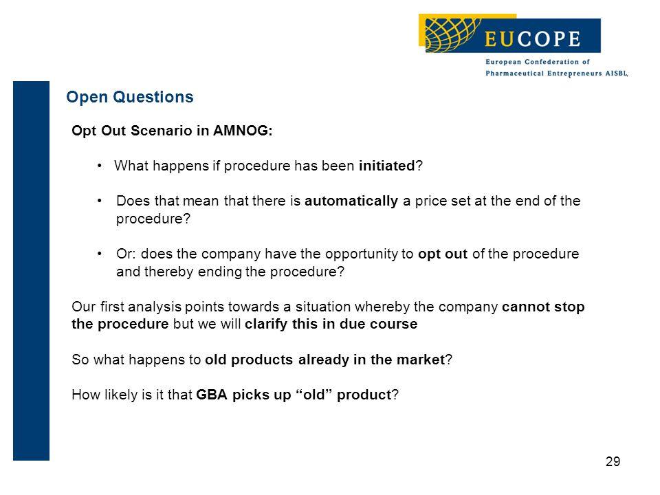 29 Open Questions Opt Out Scenario in AMNOG: What happens if procedure has been initiated.