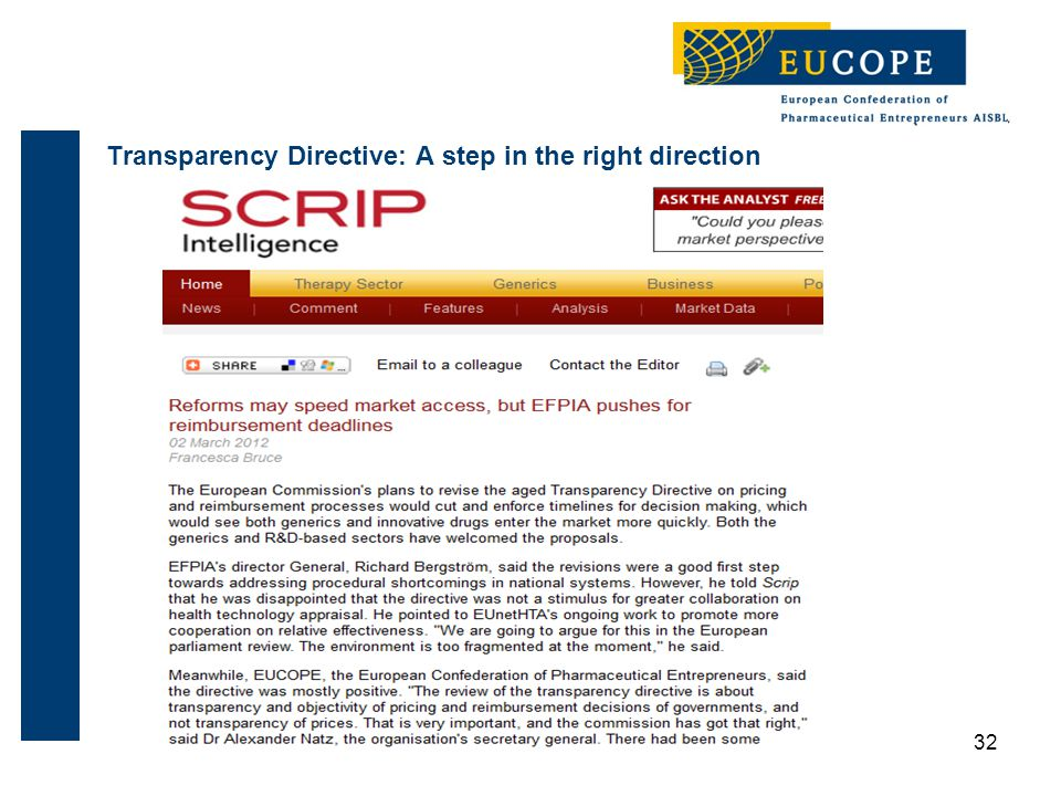 32 Transparency Directive: A step in the right direction