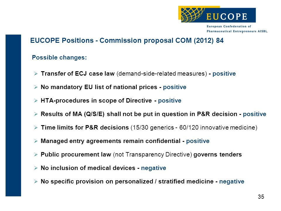 Possible changes:  Transfer of ECJ case law (demand-side-related measures) - positive  No mandatory EU list of national prices - positive  HTA-procedures in scope of Directive - positive  Results of MA (Q/S/E) shall not be put in question in P&R decision - positive  Time limits for P&R decisions (15/30 generics - 60/120 innovative medicine)  Managed entry agreements remain confidential - positive  Public procurement law (not Transparency Directive) governs tenders  No inclusion of medical devices - negative  No specific provision on personalized / stratified medicine - negative 35 EUCOPE Positions - Commission proposal COM (2012) 84