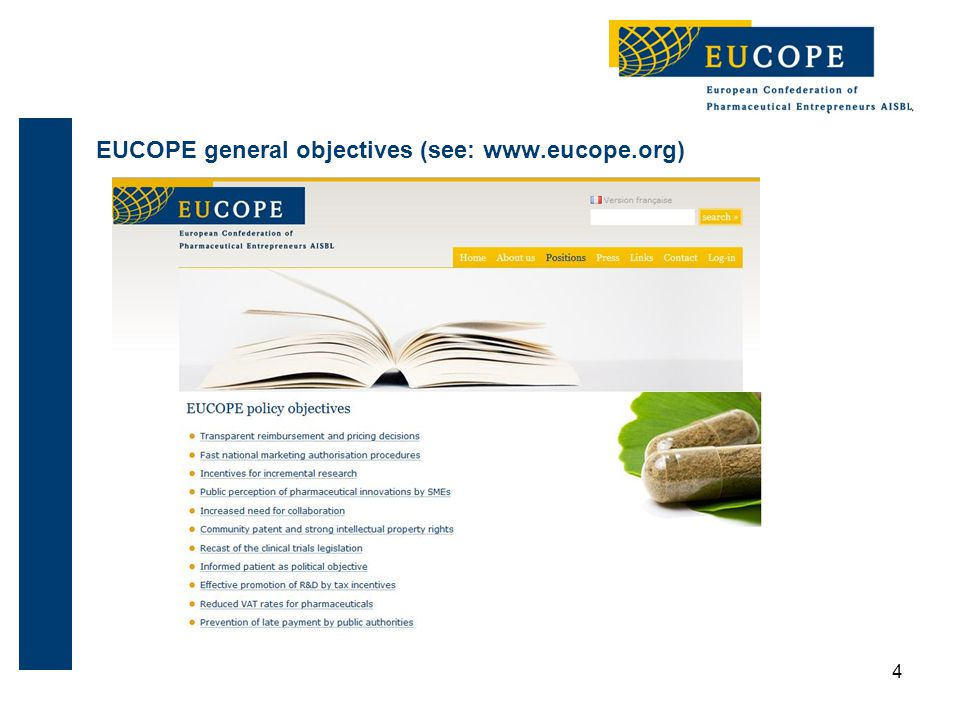 55 Eucope: the mid-sized companies perspective EUCOPE represents 900+ mid-sized companies via the associations EMIG, BPI, BioDeutschland, SwedenBio, IML, PEF Board represents companies from Sweden, UK, Bulgaria, Italy, Greece, Germany, the Netherlands … Companies represented: B.