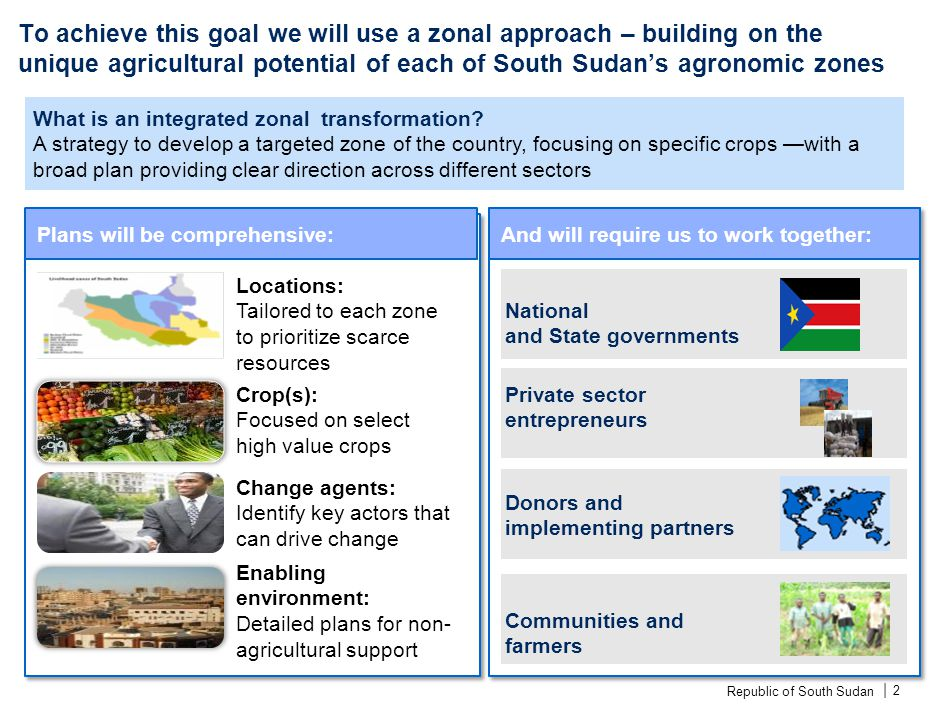Republic of South Sudan | To achieve this goal we will use a zonal approach – building on the unique agricultural potential of each of South Sudan's a