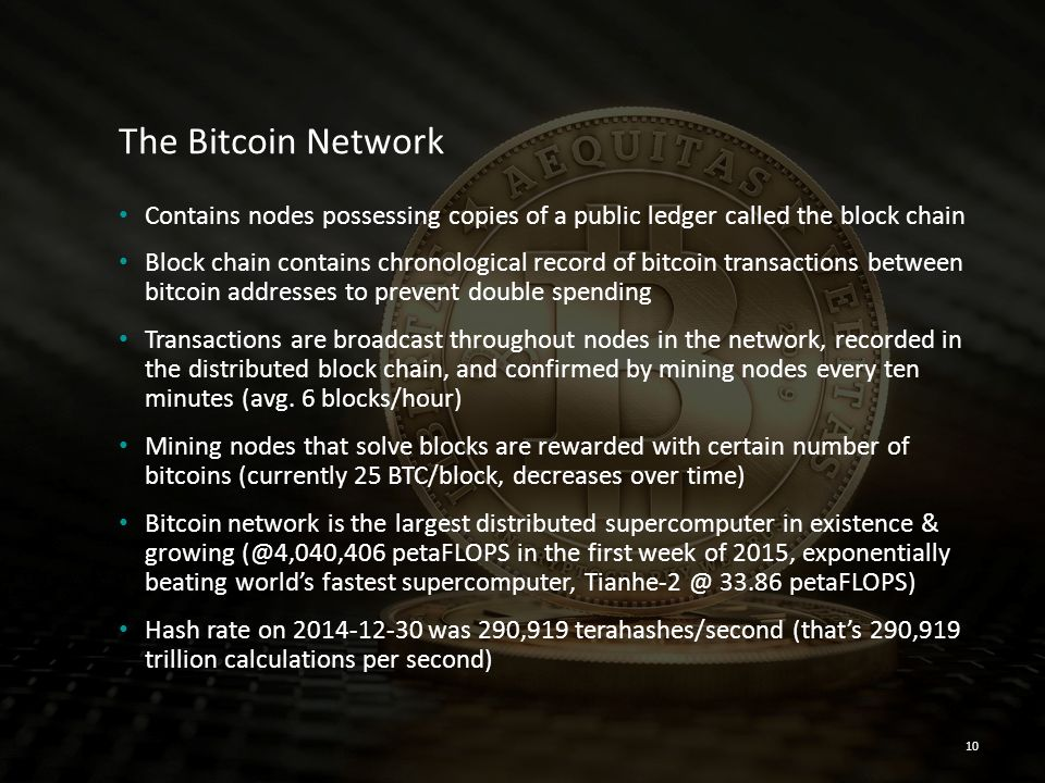 The Bitcoin Network Contains nodes possessing copies of a public ledger called the block chain Block chain contains chronological record of bitcoin tr