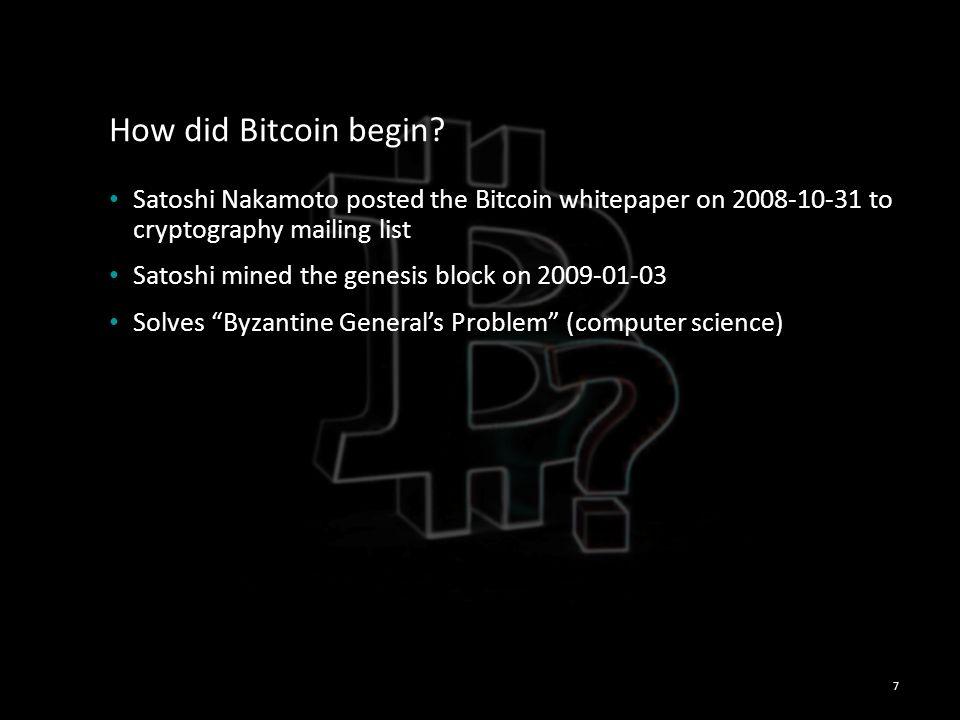 How did Bitcoin begin.