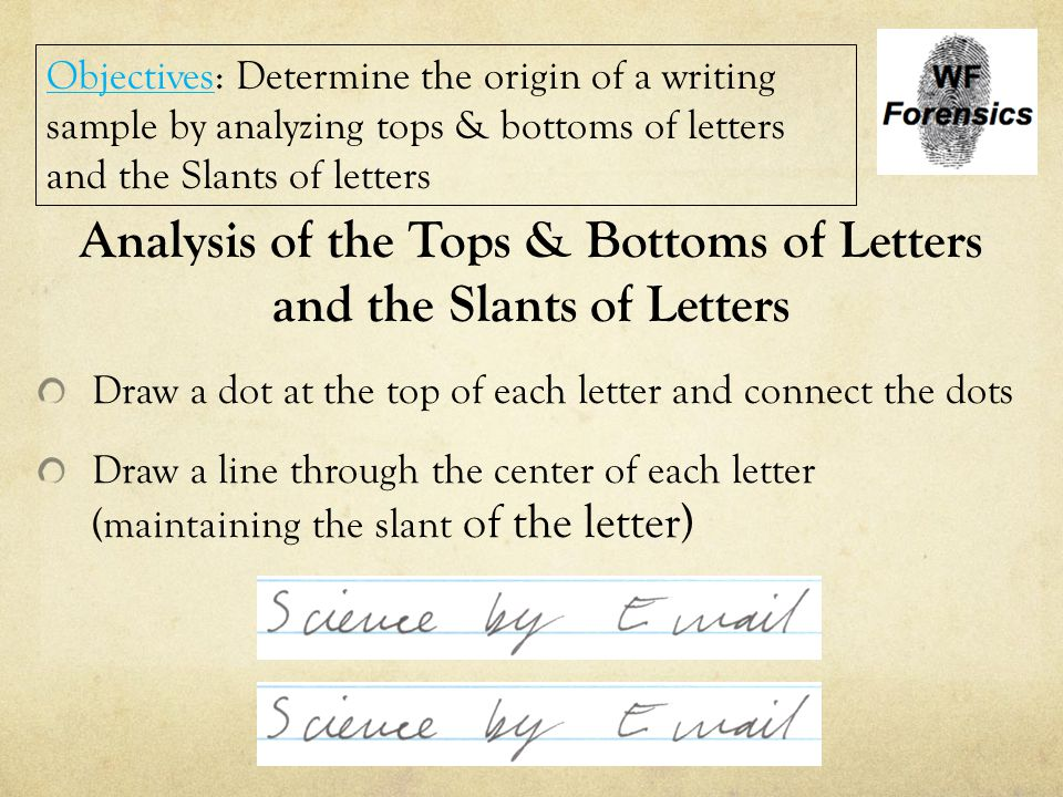 Analysis of the Tops & Bottoms of Letters and the Slants of Letters Draw a dot at the top of each letter and connect the dots Draw a line through the
