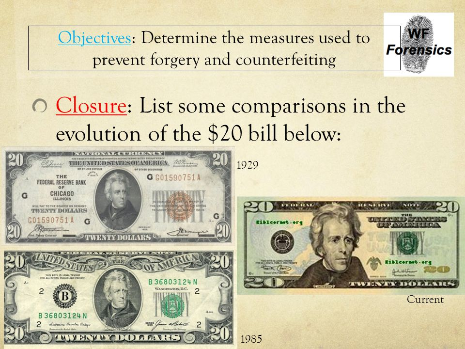 Closure: List some comparisons in the evolution of the $20 bill below: Objectives: Determine the measures used to prevent forgery and counterfeiting 1