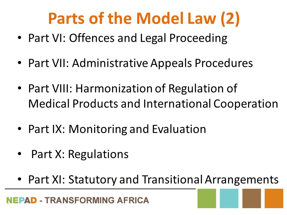 Parts of the Model Law (2) Part VI: Offences and Legal Proceeding Part VII: Administrative Appeals Procedures Part VIII: Harmonization of Regulation o