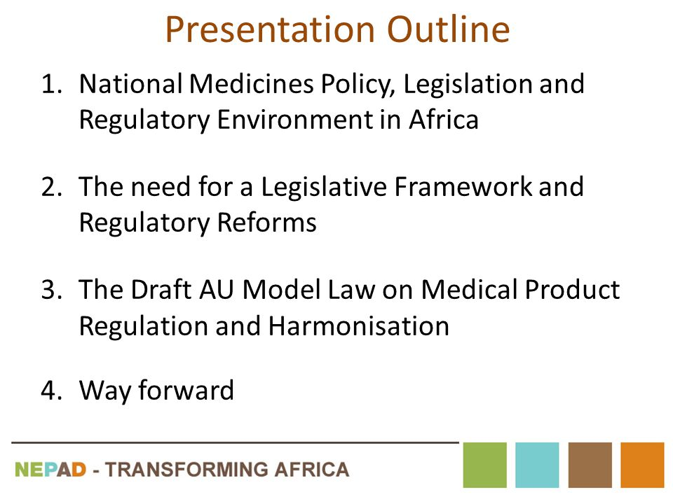AU Model Law Process Validation of the Draft Model law by experts on Medicines Policies and Regulatory Reforms before consultations (Done) Presentation of the Draft Model Law to the Pan African Parliamentary (PAP) Committee on health, labour and Social Affairs in August 2013.