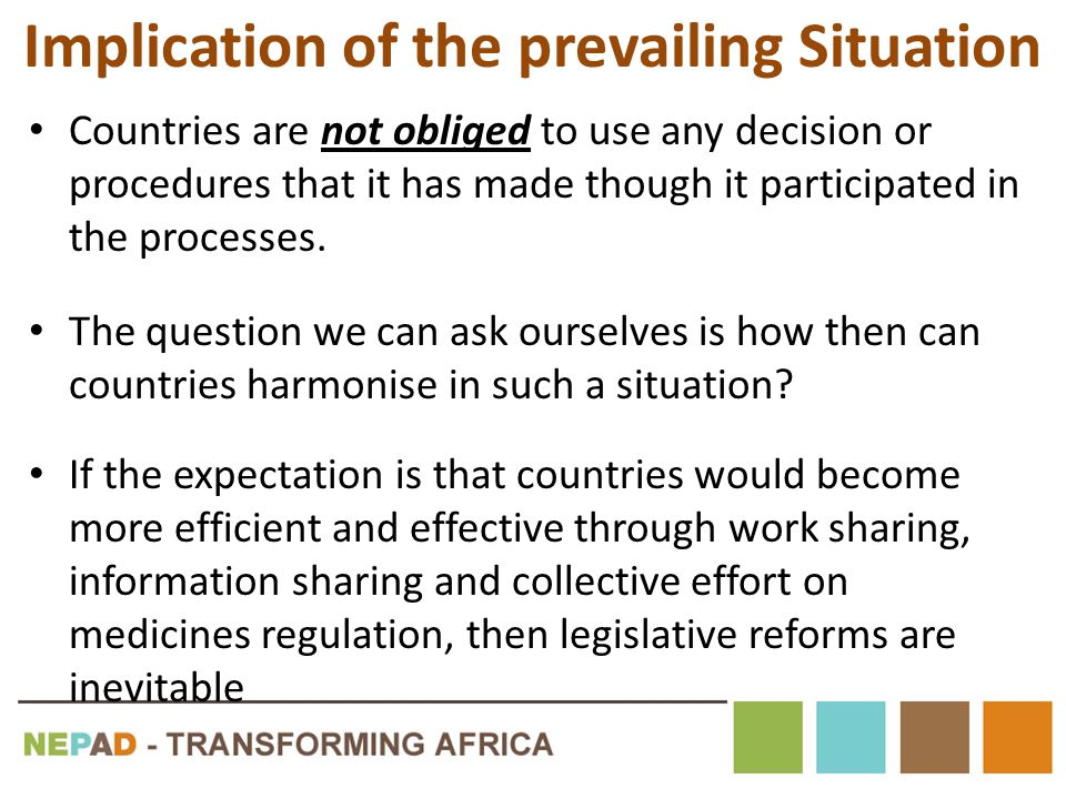 Implication of the prevailing Situation Countries are not obliged to use any decision or procedures that it has made though it participated in the pro