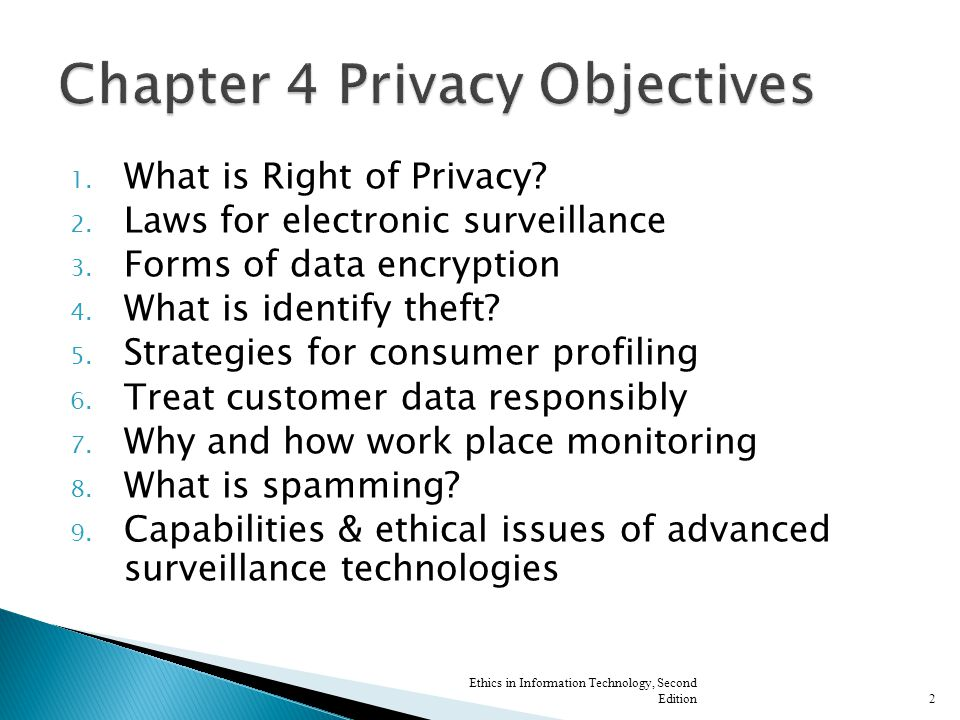 1. What is Right of Privacy. 2. Laws for electronic surveillance 3.