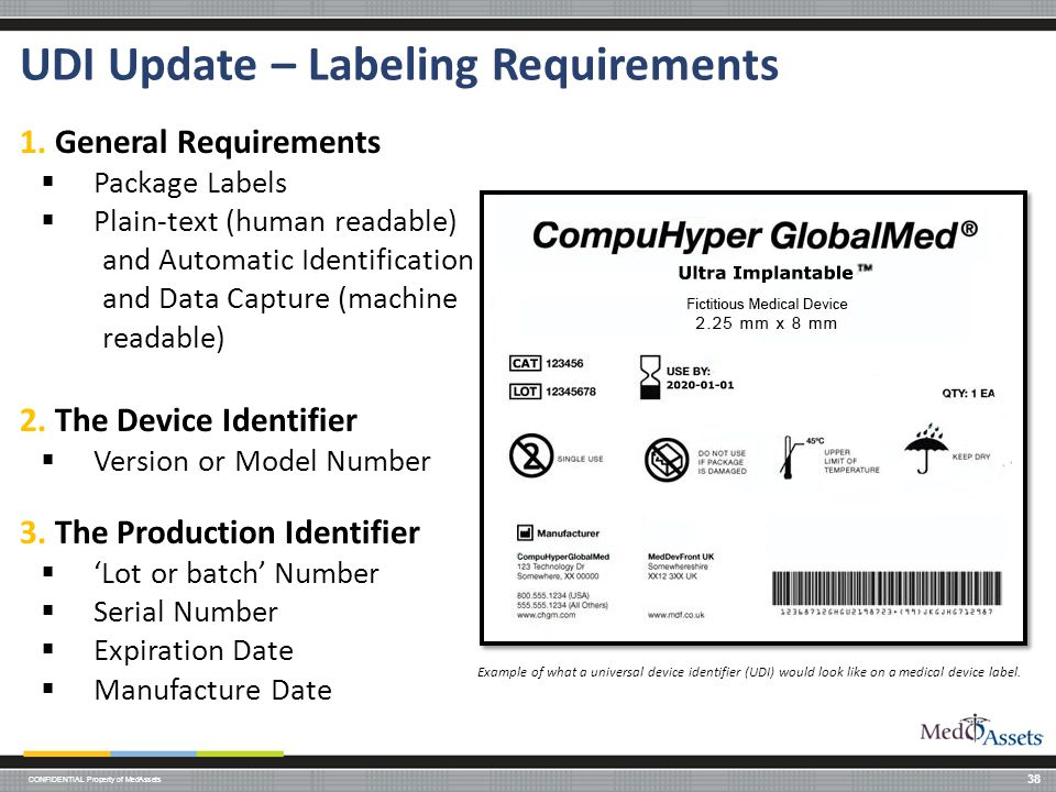 CONFIDENTIAL Property of MedAssets UDI Update – Labeling Requirements 38 1.