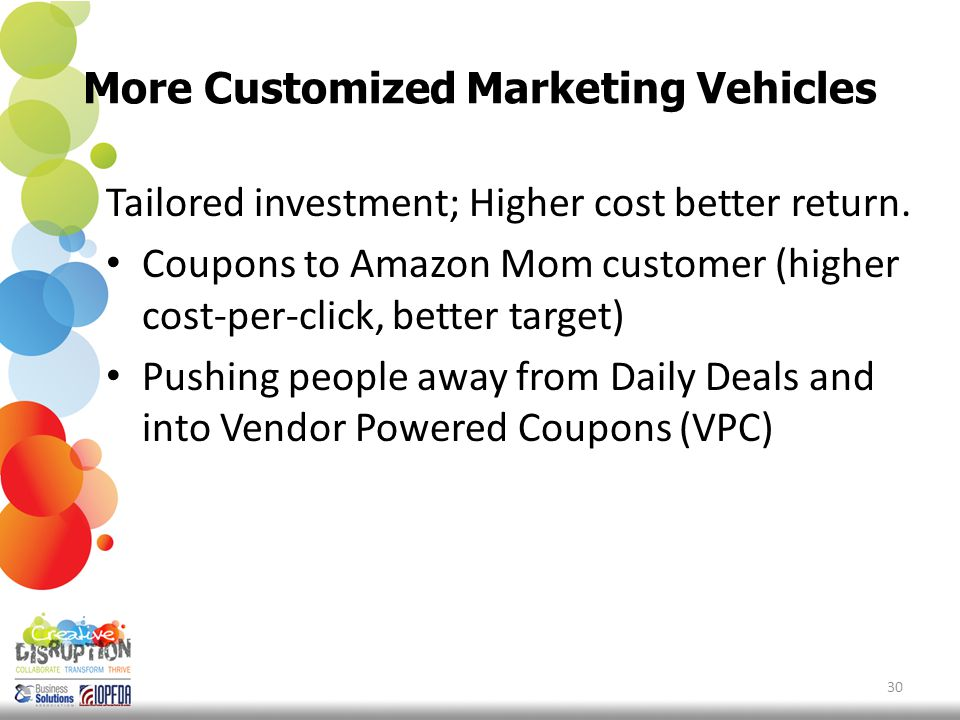 More Customized Marketing Vehicles 30 Tailored investment; Higher cost better return.