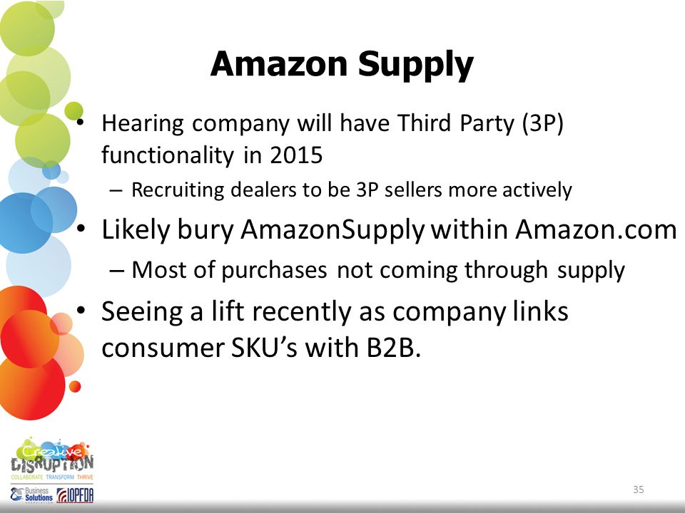 Amazon Supply Hearing company will have Third Party (3P) functionality in 2015 – Recruiting dealers to be 3P sellers more actively Likely bury AmazonSupply within Amazon.com – Most of purchases not coming through supply Seeing a lift recently as company links consumer SKU's with B2B.