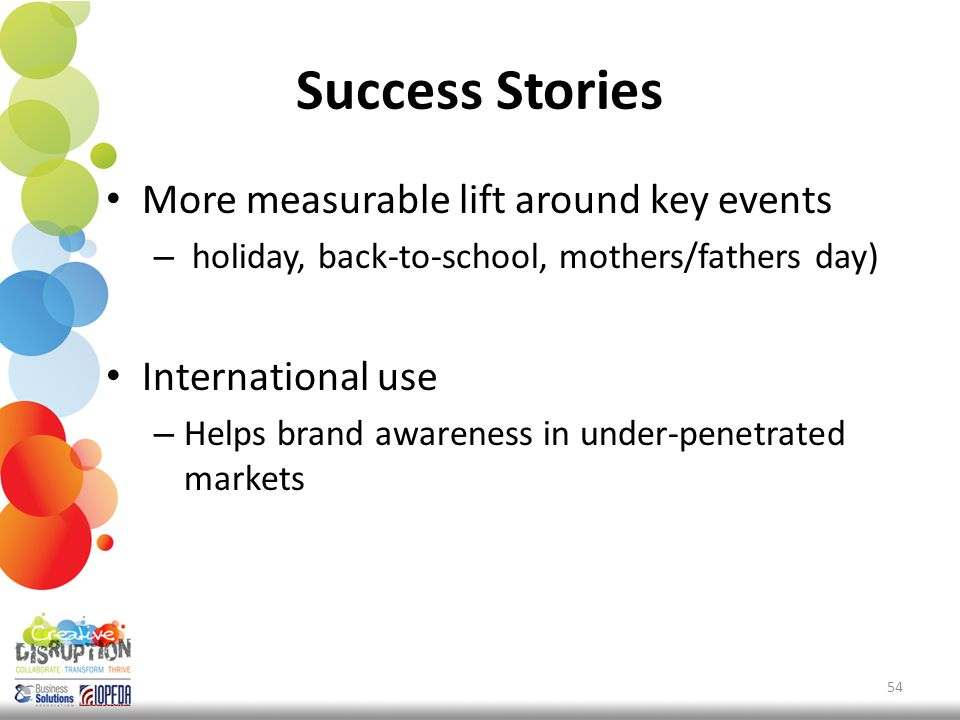 Success Stories More measurable lift around key events – holiday, back-to-school, mothers/fathers day) International use – Helps brand awareness in under-penetrated markets 54