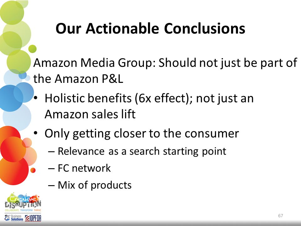 Our Actionable Conclusions Amazon Media Group: Should not just be part of the Amazon P&L Holistic benefits (6x effect); not just an Amazon sales lift Only getting closer to the consumer – Relevance as a search starting point – FC network – Mix of products 67