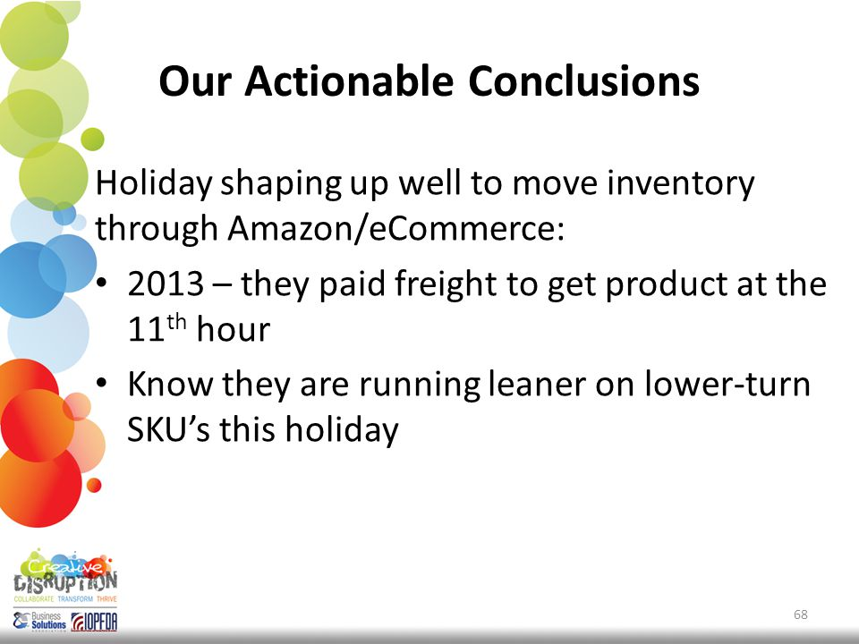 Our Actionable Conclusions Holiday shaping up well to move inventory through Amazon/eCommerce: 2013 – they paid freight to get product at the 11 th hour Know they are running leaner on lower-turn SKU's this holiday 68