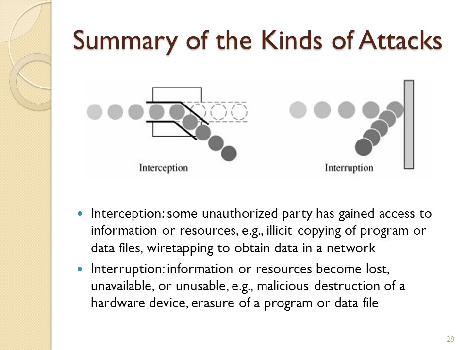 Summary of the Kinds of Attacks Interception: some unauthorized party has gained access to information or resources, e.g., illicit copying of program or data files, wiretapping to obtain data in a network Interruption: information or resources become lost, unavailable, or unusable, e.g., malicious destruction of a hardware device, erasure of a program or data file 28