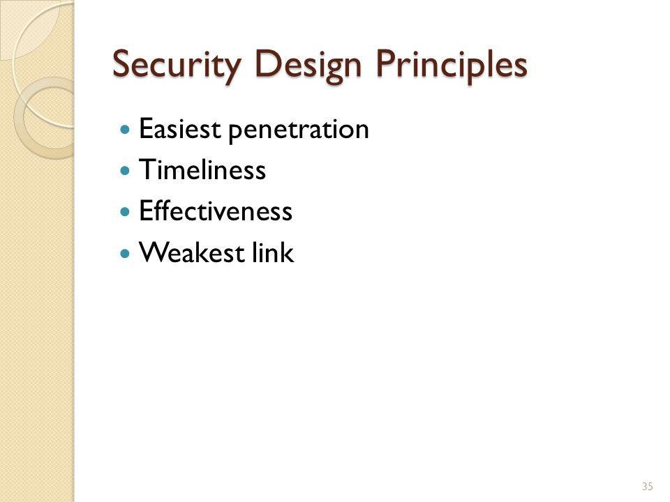 Security Design Principles Easiest penetration Timeliness Effectiveness Weakest link 35