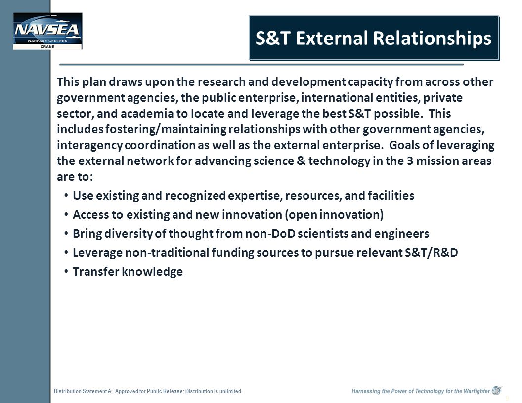 Distribution Statement A: Approved for Public Release; Distribution is unlimited. 9 S&T External Relationships This plan draws upon the research and d