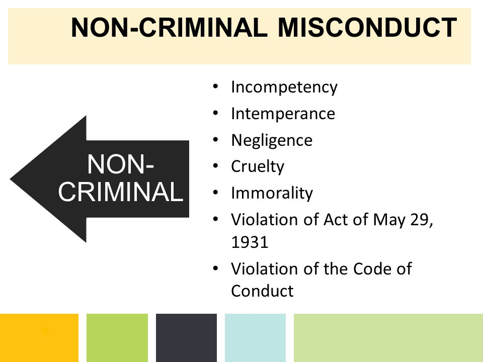 NON-CRIMINAL MISCONDUCT NON- CRIMINAL CRIMINAL Incompetency Intemperance Negligence Cruelty Immorality Violation of Act of May 29, 1931 Violation of the Code of Conduct