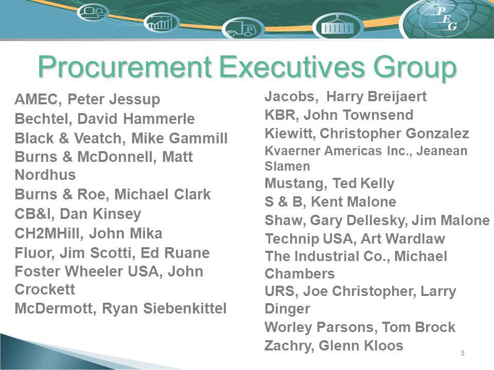 Procurement Executives Group 3 AMEC, Peter Jessup Bechtel, David Hammerle Black & Veatch, Mike Gammill Burns & McDonnell, Matt Nordhus Burns & Roe, Mi