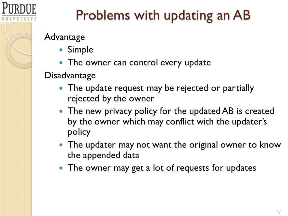 Problems with updating an AB 17 Advantage Simple The owner can control every update Disadvantage The update request may be rejected or partially rejected by the owner The new privacy policy for the updated AB is created by the owner which may conflict with the updater's policy The updater may not want the original owner to know the appended data The owner may get a lot of requests for updates
