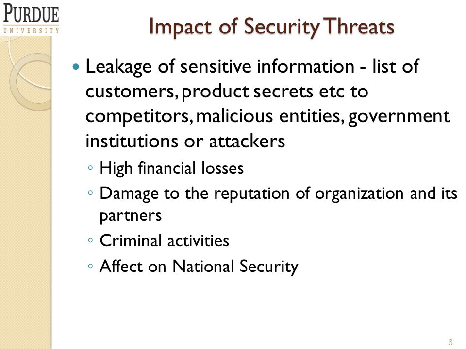 Impact of Security Threats Leakage of sensitive information - list of customers, product secrets etc to competitors, malicious entities, government in