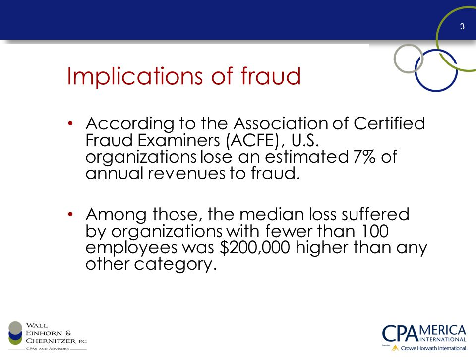 Implications of fraud According to the Association of Certified Fraud Examiners (ACFE), U.S.